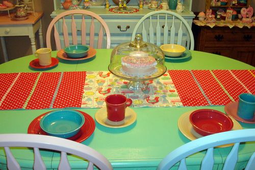 I like the way the runner coordinates with my fiestaware. My daughter and son-in-law bought us 12 place settings for a house warming gift. & Cath Kidston and Fiestaware - Sheu0027s Sew Pretty